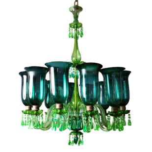 Antique 12 Light Chandelier in Emerald Green Glass