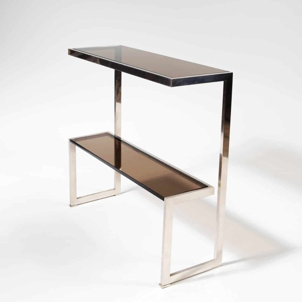 Mid Century 70's Chrome Side Table Console