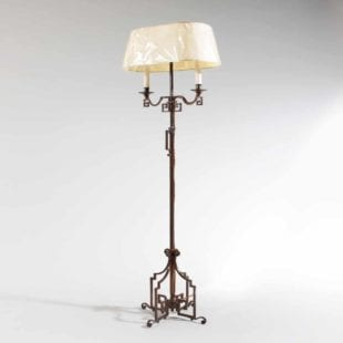 Patinated Steel Floor Lamp Possibly by Maison Jansen