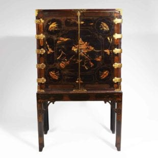 George III Black Lacquer Cabinet on Stand