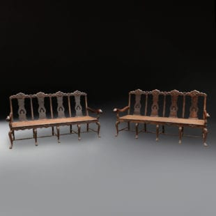 Large pair of Indo-Portuguese settees