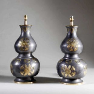 Chinese Double Gourd Pewter & Brass Vases as Lamps