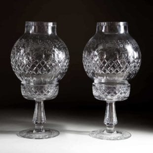 Pair of Large Antique Cut Glass Hurricane Shades