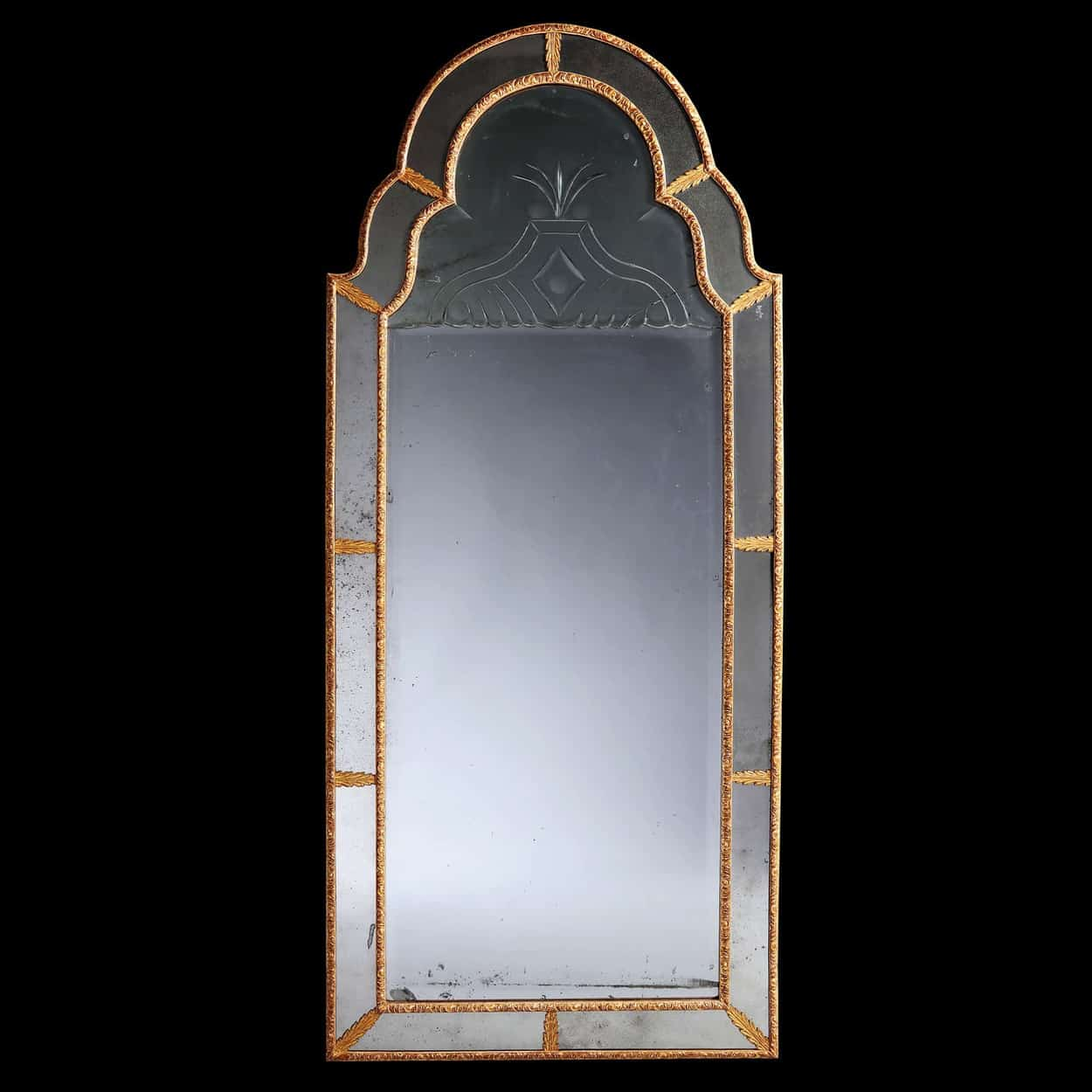 Antique Queen Anne Giltwood Border Glass Pier Mirror