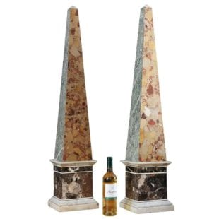 Pair of Cipollino of Versilia and Breche d'Alep marble obelisks