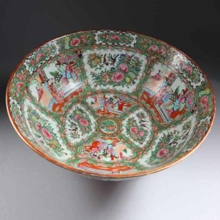 Large Canton Porcelain Punch Bowl