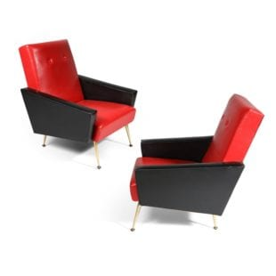 Mid Century Furniture - Pair of Faux Leather Armchairs