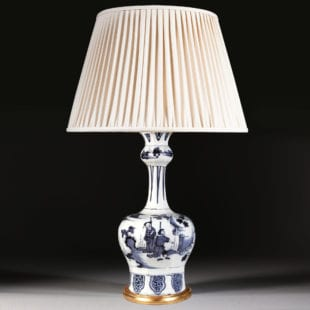 Dutch Delft Blue and White Knobble Vase, circa 1700 now mounted as a lamp