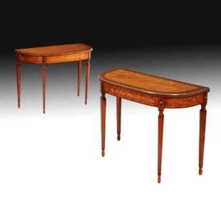 Pair of Satinwood Sheraton Revival Card Tables
