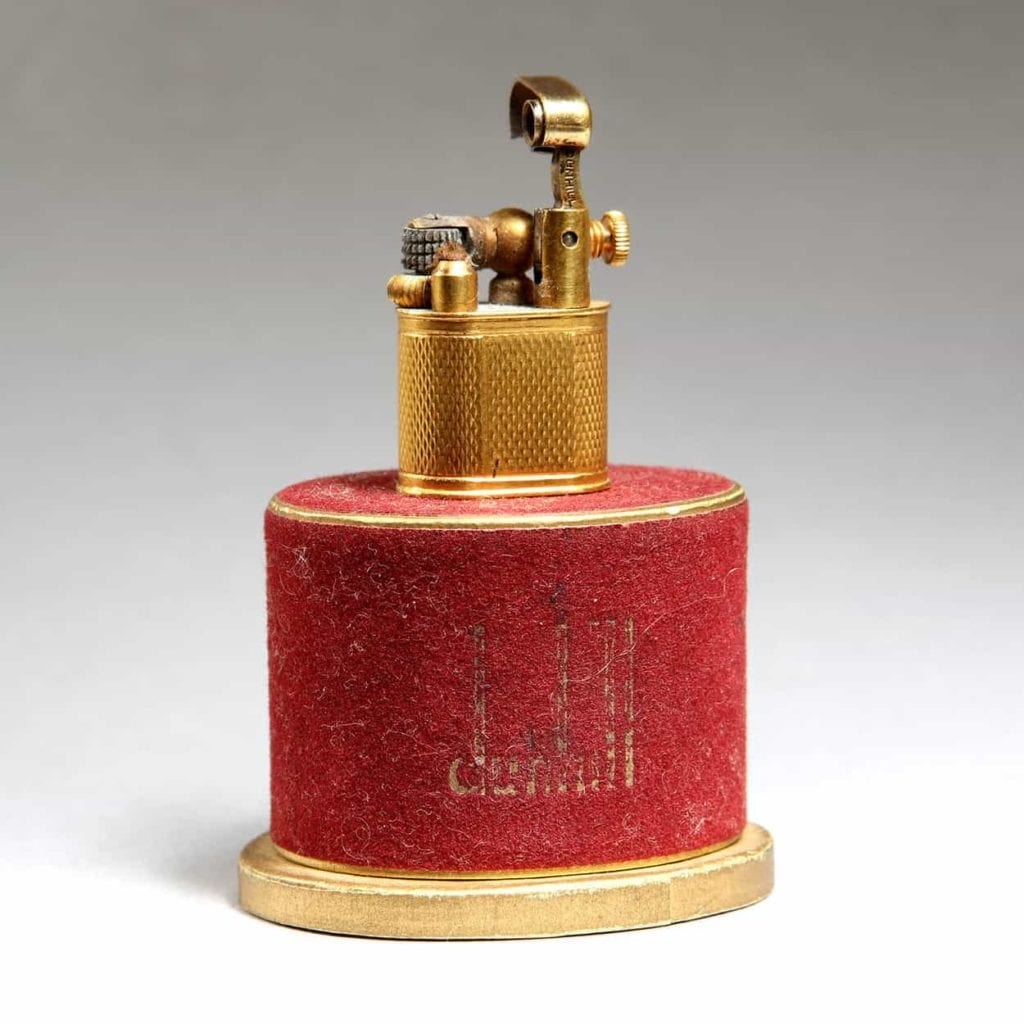 Gold Plated Baby Sylph Lighter - With its original Red Flock Box