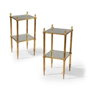 Pair of Reeded Brass Etagere End Tables With Mirror Shelves