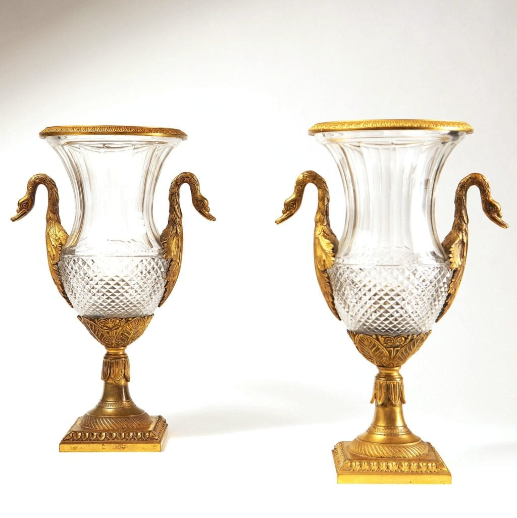 Charles X cut glass and gilt bronze vases