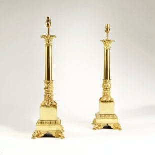 Pair of French Carcel Lamps