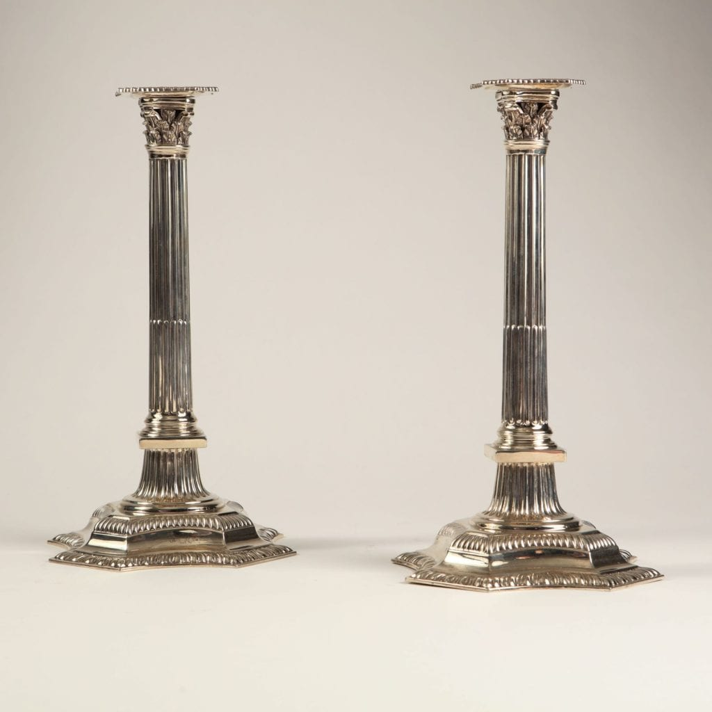 A fine pair of late 19th century stop fluted neo-classical silver Corinthian column candlesticks by THOMAS BRADBURY & SONS. London. 1894.