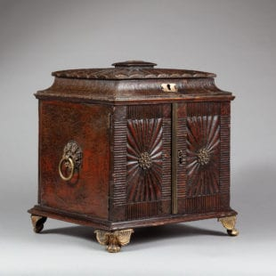 Regency Leather Table Top Cabinet