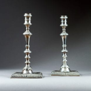 Pair of 18th Century Cast Silver Candlesticks, William Cafe, London, 1758