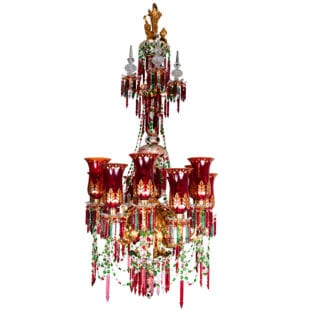 19th Century Ruby, White Over Green Crystal and Gilt Bronze Chandelier by F & C Osler