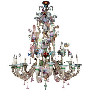 Exceptional 19th Century Murano Coloured Glass Chandelier