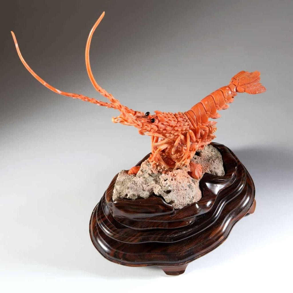 carved precious coral lobster