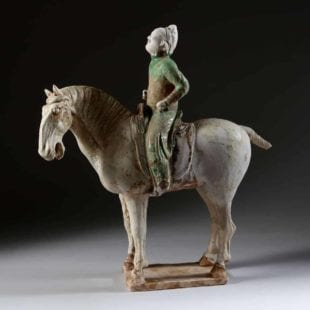 A rare Tang Dynasty pottery polo player