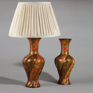 Pair of 20th Century Kashmiri Spiral Polychrome Vases as Table Lamps