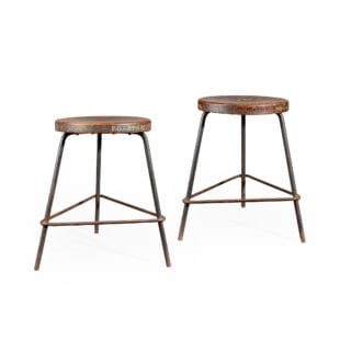 Pair of Numbered Chandigarh Stools By Pierre Jeanneret, College of Architecture