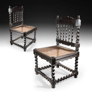 Pair of Antique Solid Ebony Indian Hall Chairs
