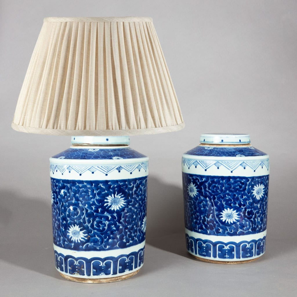Pair of Chinese Blue and White Porcelain Ginger Jars as Lamps