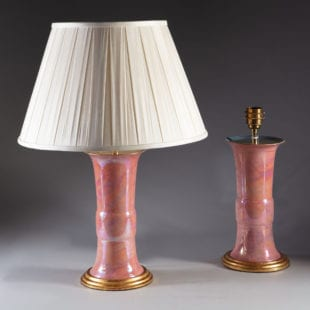 Pair of Mid century Chinese form table lamps with pink iridescent glaze