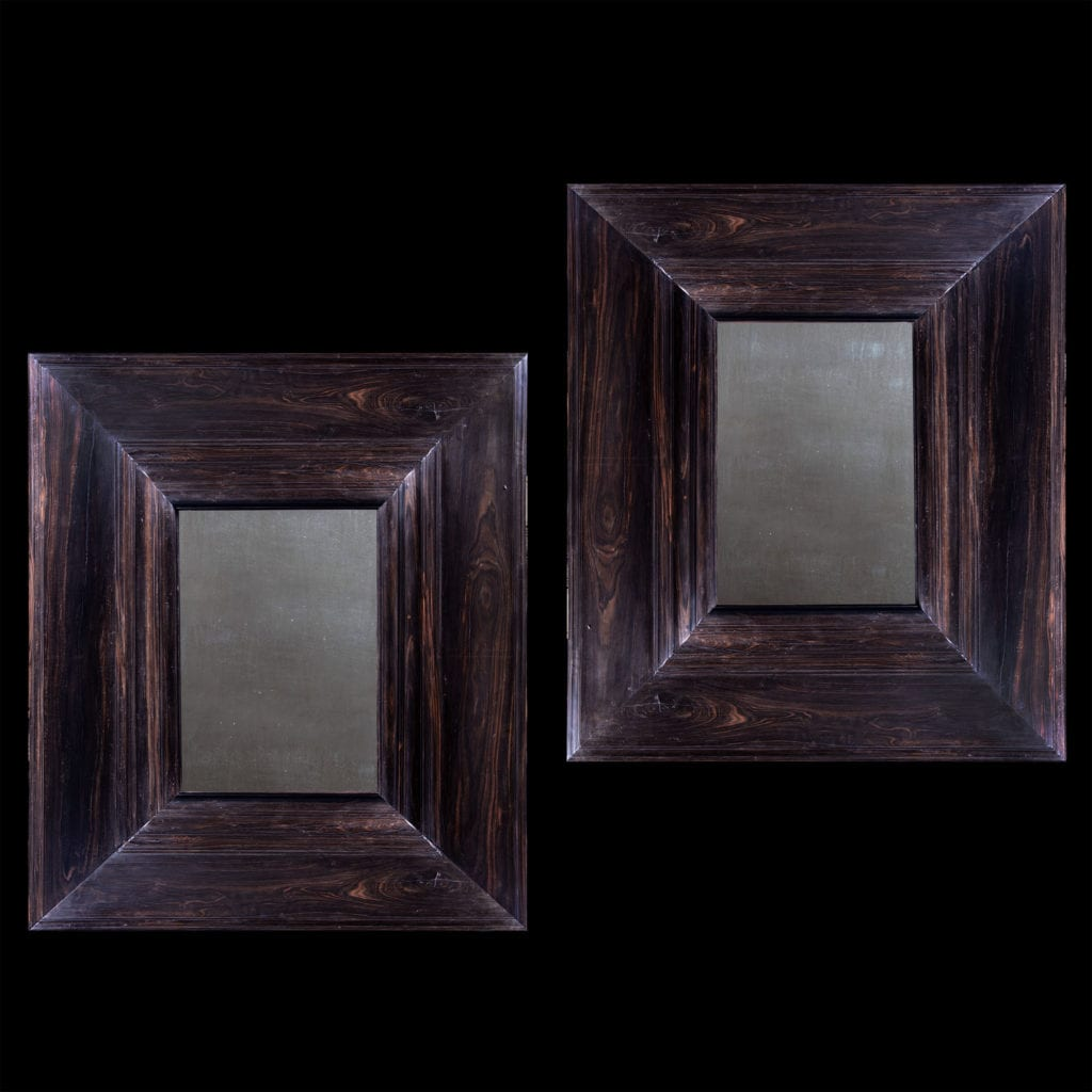 Pair of Solid Ebony Indo Dutch Colonial Wall Mirrors