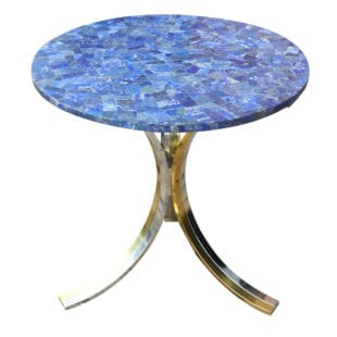 Pair of Brass and Chrome Circular End Tables with Blue Lapis Lazuli Tops