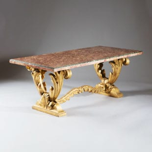 Syrie Maugham Carved Giltwood Mid Century Brocatelle Marble Low Table