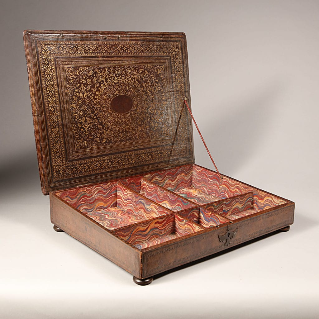 17th century Ducal Tooled Leather Writing Box