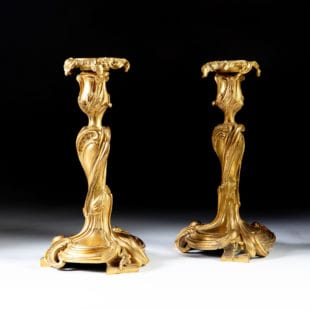 Pair of 19th Century Louis XV Ormolu Candlesticks