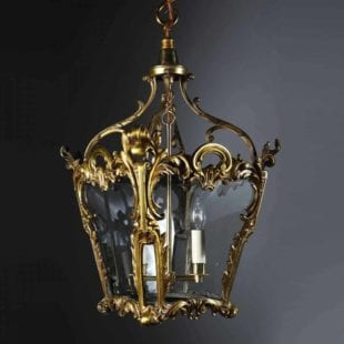 Rococo Revival Brass Lantern by Hooper & Co Boston