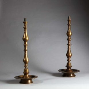 Pair of Turned Brass Indian Table Lamps