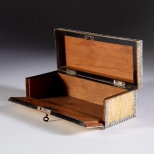 Anglo Indian Blond Porcupine Quill Tip, Horn and Sandalwood Box from Vizagapatam