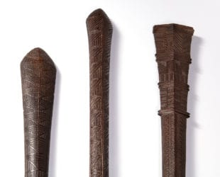 Detail of 3 Tongan War Clubs