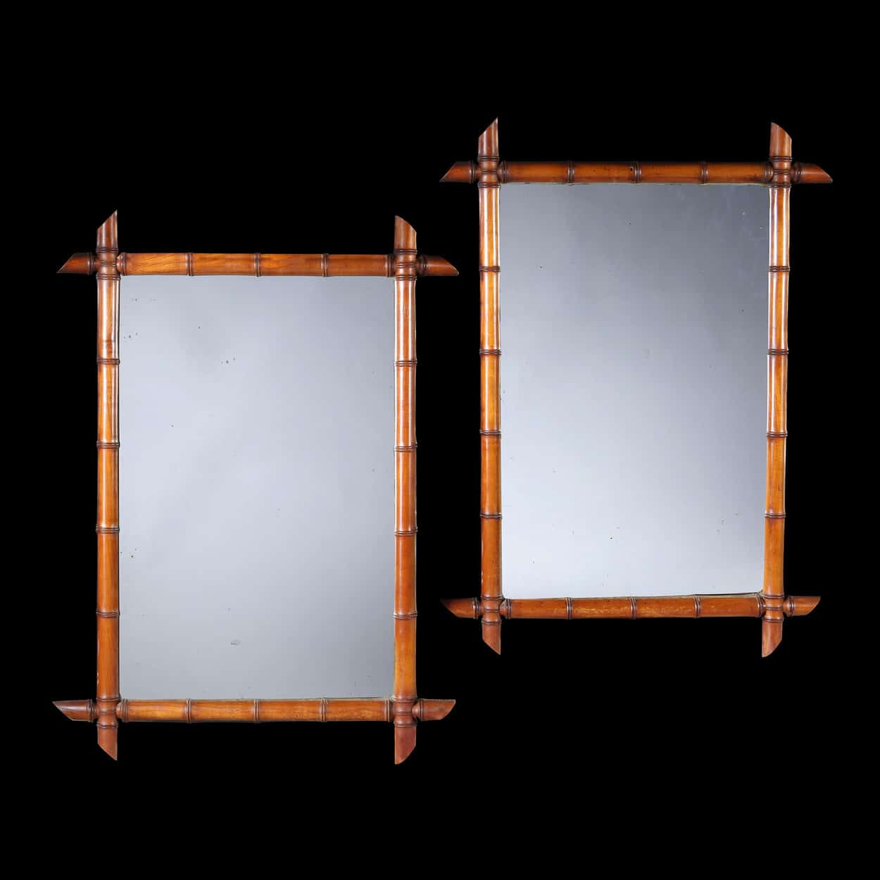 Pair of Antique Faux Bamboo Mirrors