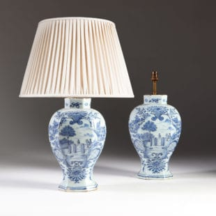 Charming Pair of 18th Century Delft Blue and White Vases as Lamps
