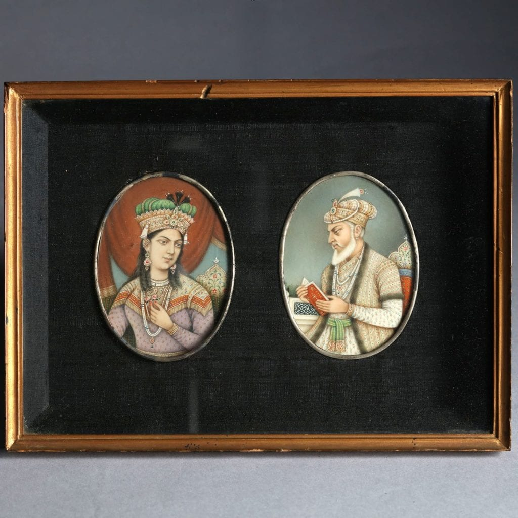 Two framed Indian Portrait miniatures. Emperor Aurangzeb & his Consort. India, 19th Century