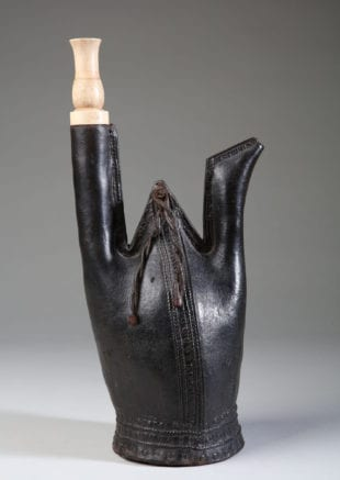 16th Century Ottoman Leather Matara Water Flask. In incredible condition, heavy stitching throughout in perfect order, the central apex hung with four twisted and knotted leather tassels. Fitted with a bone stopper, possibly later. Ottoman Empire, Turkey, 16th century
