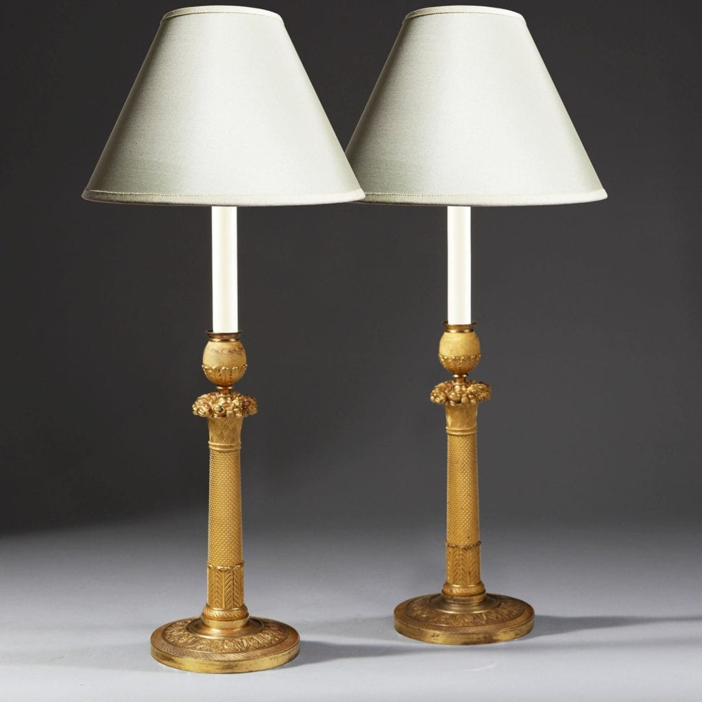 Pair of Gilt Bronze Empire Candlestick Table Lamps