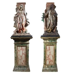 Pair of Orientalist Bronze Sculptures on Faux Marble Pedestals By Anatole J. Guillot (1865-1911)