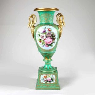 Paris Porcelain Green Glazed, Floral and Gold Vase
