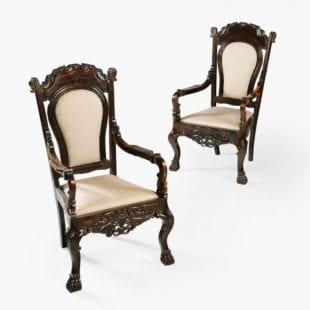 PAIR OF 19TH CENTURY SINHALESE CALAMANDER WOOD ARMCHAIRS
