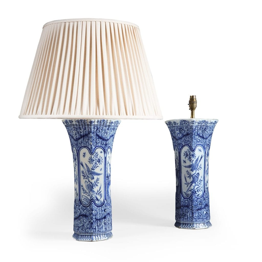 pair of delft blue and white table lamps