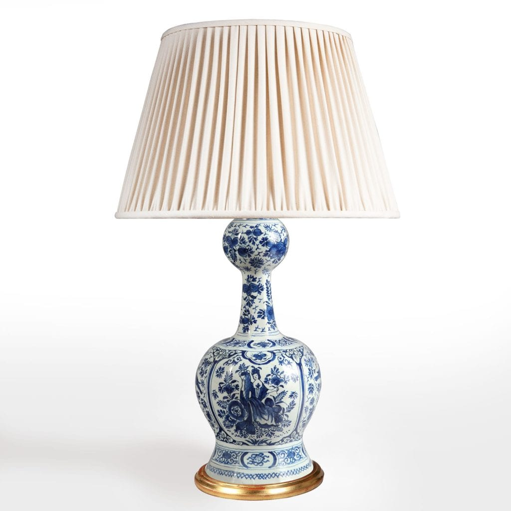 pair of delft blue and white table lamp