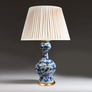 early 19th century delft blue and white vase as a lamp