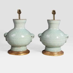 Chinese celadon green table lamps